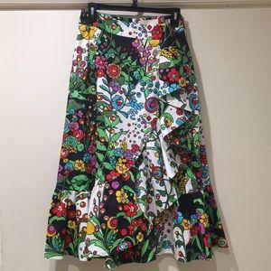 La Double J jazzy floral ruffle midi skirt